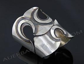 Art Smith Modernist Silver Three Hole Bracelet