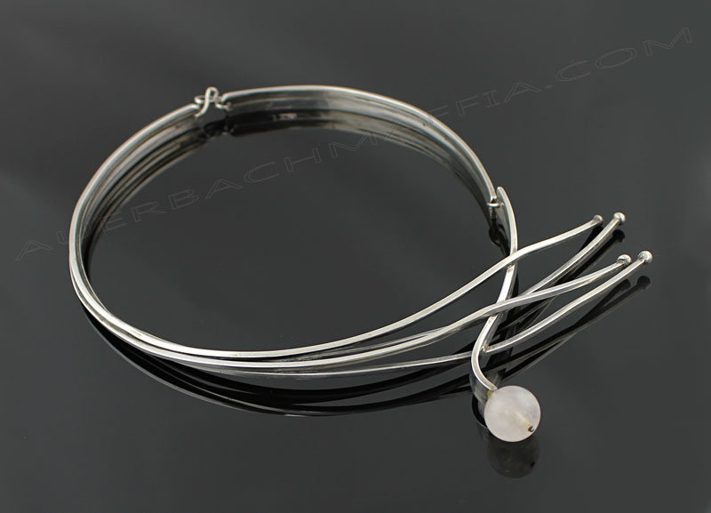 Bill Tendler Modernist Sterling and Quartz Necklace