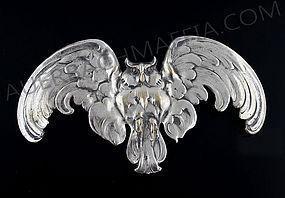 Art Nouveau Owl Buckle Gablonz Bohemia - 1900