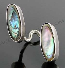 Art Smith Modernist Sterling and Abalone Ring