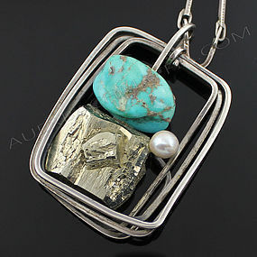 Rebajes Modernist Sterling Turquoise Pyrite Necklace
