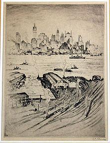 Anton Schutz New York City View Etching 1927