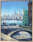 Harry Shokler Screen Print New York City Scene 1947 WPA