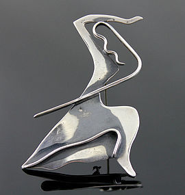 Ed Wiener Modernist Sterling Martha Graham Brooch