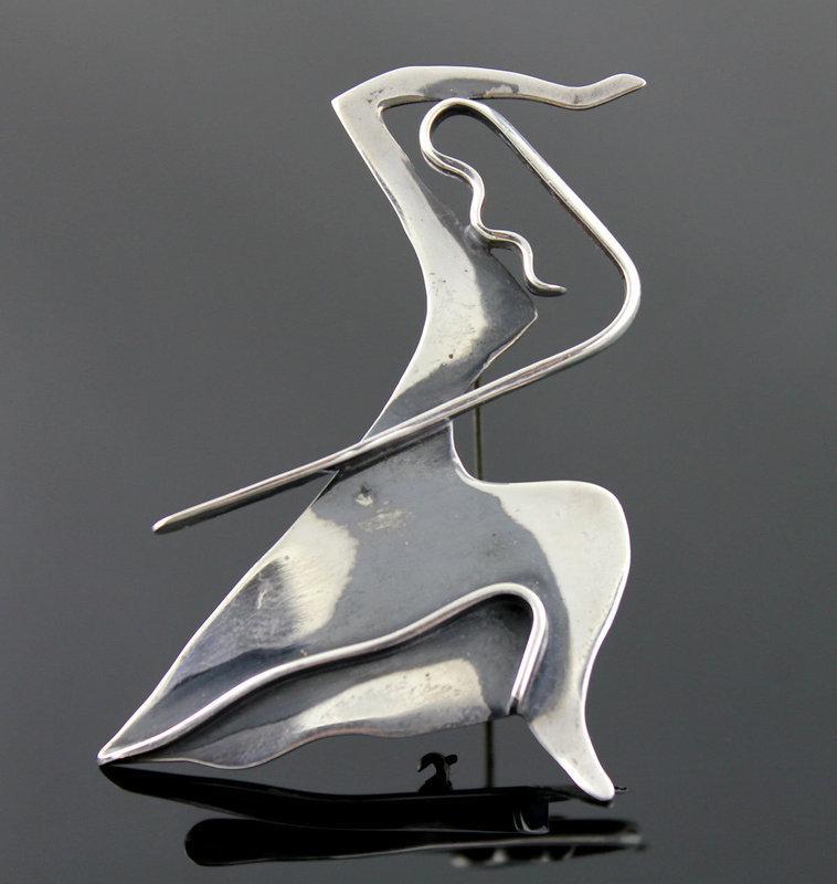 Ed Wiener Modernist Sterling Martha Graham Brooch