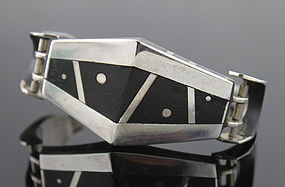 Carol Horrocks Modernist Sterling and Ebony Bracelet
