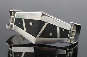 Carol Horrocks Modernist Sterling and Ebony Bracelet