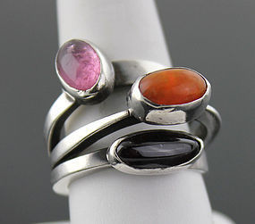 Art Smith Modernist Orbital Ring with Stones 1950