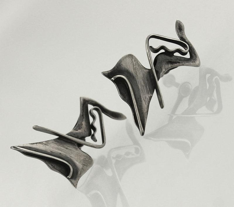 Ed Wiener Modernist Sterling Martha Graham Earrings