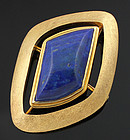 Modernist 14K Gold and Lapis Brooch Pendant 1950 - 60