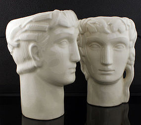 Geza DeVegh Art Deco Classical Ceramic Heads 1930