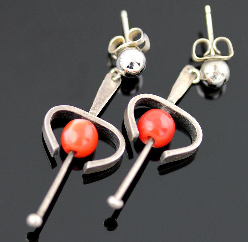 Ed Wiener Modernist Sterling Earrings w/Coral