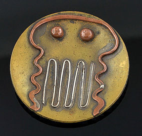 Ed Wiener Modernist Silver Brass and Copper Pendant