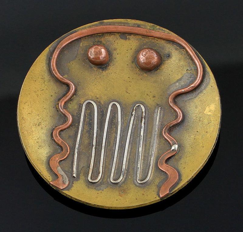 Ed Wiener Modernist Silver Brass and Copper Pendant