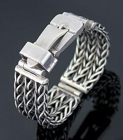 Impressive Vintage Sterling Silver Buckle Bracelet European