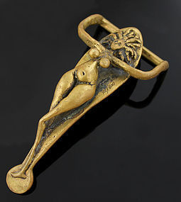 Carl Tasha Nude Figural Brass Belt Buckle 1970 Modernist