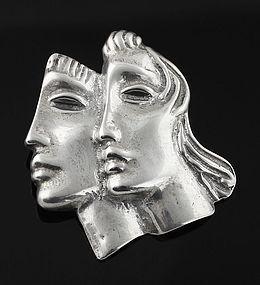Peter Fingesten Modernist Double Mask Brooch New York