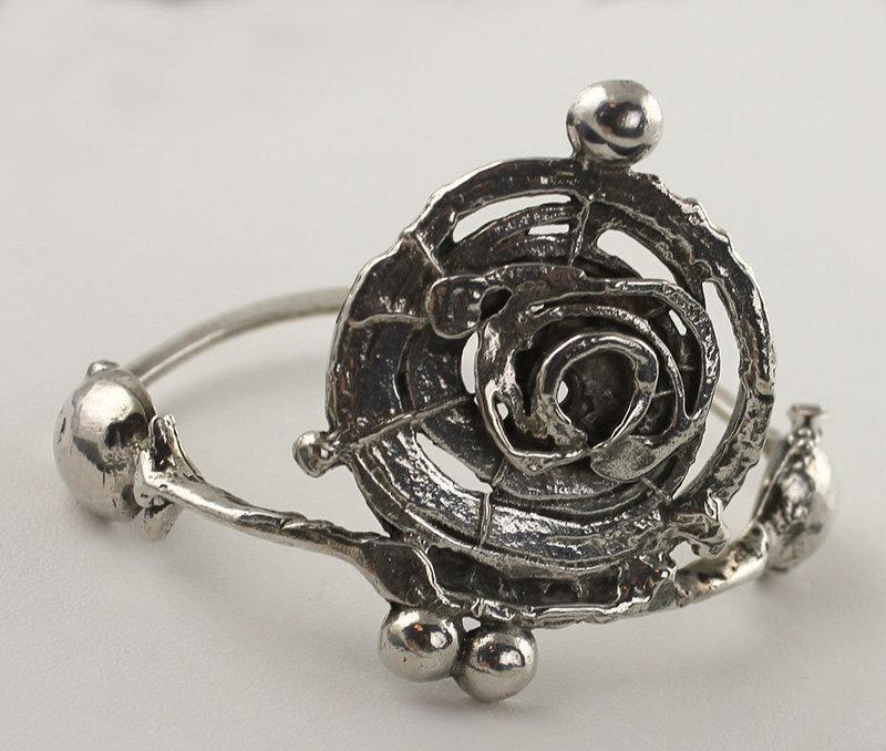 Modernist Abstract Sterling Silver Bracelet Europe 1970's