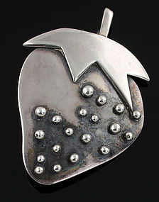 Janiye Sterling Silver Strawberry Brooch 1950 Boston Japan Modernist