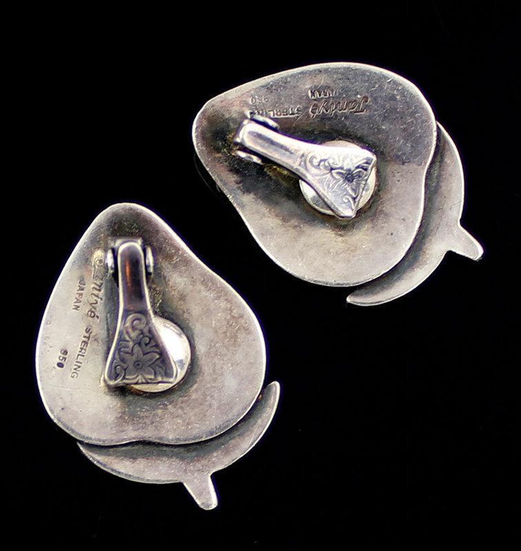 Janiye Sterling Silver Strawberry Earrings 1950 Boston Japan Modernist