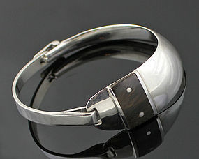 Antonio Fallaci Modernist Sterling and Ebony Bracelet Italy