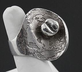 Jane Wiberg Modernist Sterling Ring Denmark Mid 20th Century