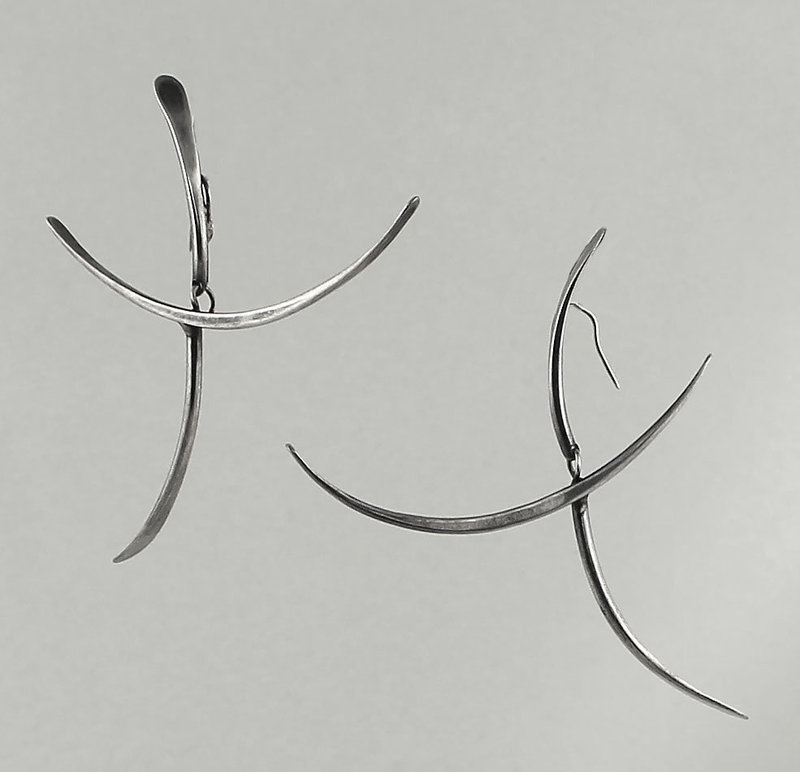 Art Smith Modernist Sterling Kinetic Earrings 1950