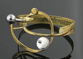 Richard BItterman Modernist Silver and Brass Bracelet 1970 Chicago