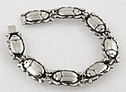 Danish Art Deco Sterling Silver Scarab Bracelet Egyptian Revival