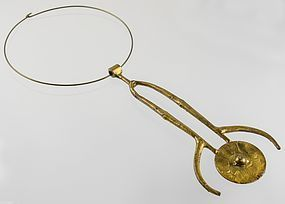 Large Modernist Brass Amulet Necklace