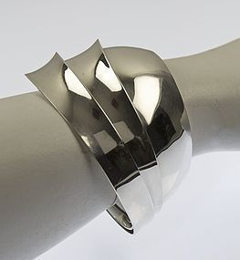 Gerhardt Modernist Triple Tiered Sterling Cuff Bracelet