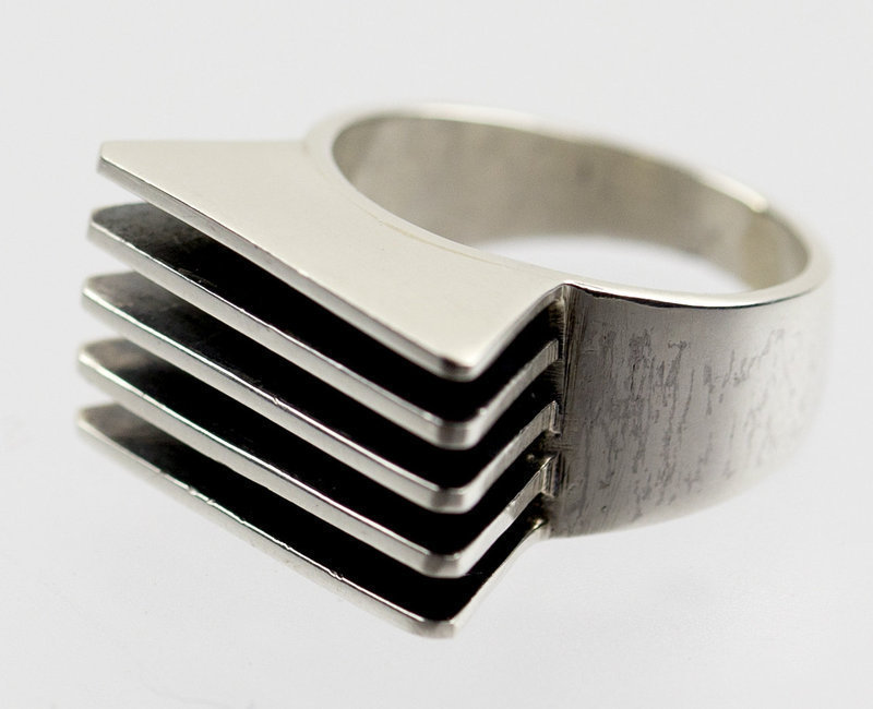 Antonio Belgiorno Modernist 900 Silver Ring Argentina