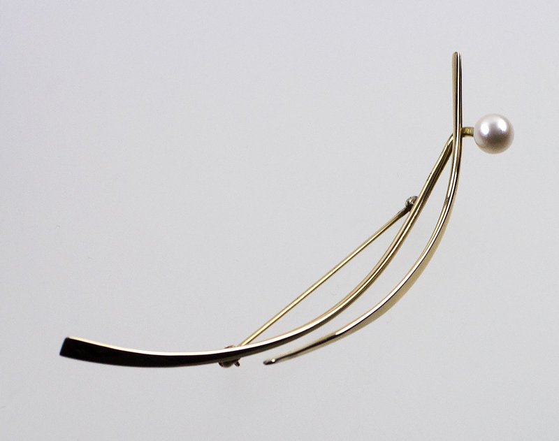 Betty Cooke Modernist 14K Gold and Pearl Brooch
