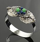 German Silver Modernist Organic Bracelet with Stones 1960's