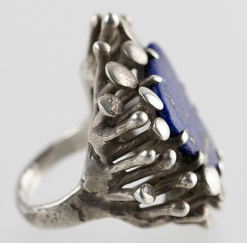 Vintage Modernist Organic Sterling Ring with Lapis 1950