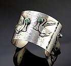 Graziella Laffi Sterling Silver Cuff Bracelet Mid Century Peru/Italy
