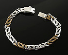 "Vintage Sterling and Brass  9 1/2"" Chain Link Bracelet Mexico"