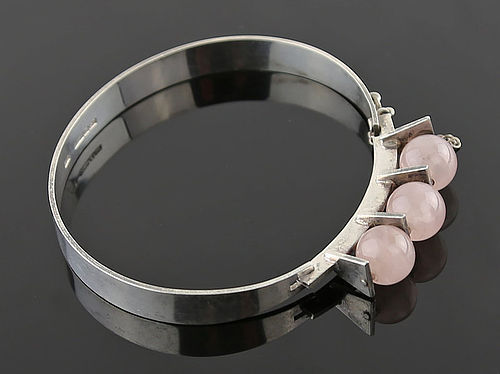Kultaseppa Salovaara Modernist Sterling and Quartz Bracelet Finland