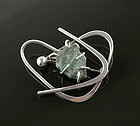 Paul Miller Modernist Sterling and Stone Orbital Brooch NYC 1950