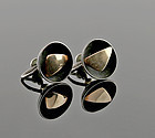Ed Levin Modernist 14k Gold and Sterling Earrings 1950