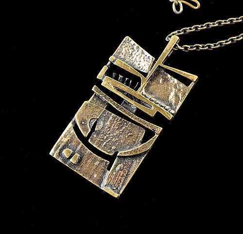 Jorma Laine Modernist Bronze Pendant Necklace Finland