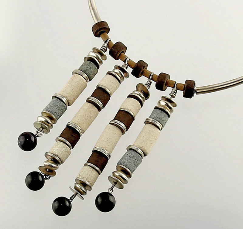 Modernist Hand Crafted Silver and Ceramic Necklace - 1970