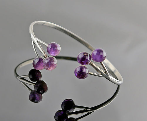 Modernist Silver and Amethyst Bangle Bracelet Mid 20th Century