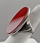 Huge JOACHIM S'PALIU Modernist Sterling Carnelian Ring Spain