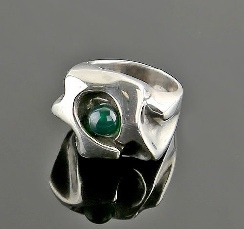 Modernist Sterling Sculptural Ring with Stone Mid Century