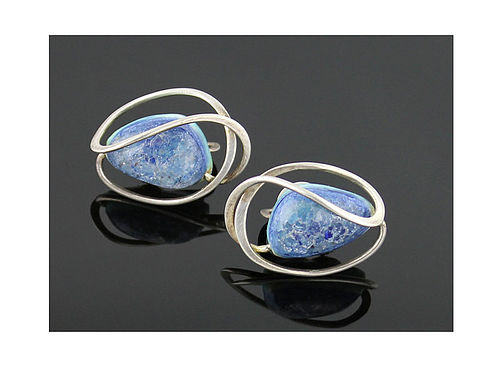 Elsa Freund Modernist Sterling Ceramic Earrings