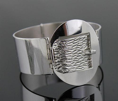 UnoAerre Modernist Sterling Buckle Bracelet Italy