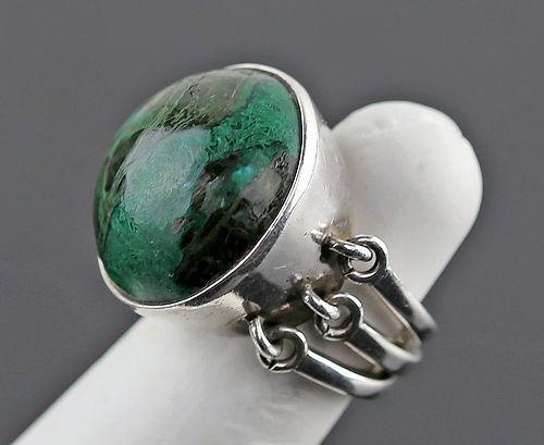 Jane Wiberg Modernist Sterling and Stone Ring Denmark Mid Century