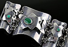 Sam Kramer Modernist Sterling and Chrysoprase Bracelet 1950