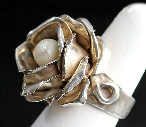 Rachel Gera Modernist Sterling Rose Floral Ring with Pearl Israel